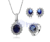 Wholesale Princess Diana Kate Royal Wedding K Rolling Gold Plated Blue Sapphire Gemstone Jewelry Set Ring Earrings Necklace