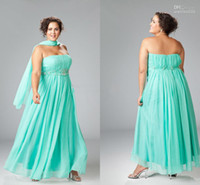 Wholesale Custom size seafoam strapless beaded long empire plus size dresses evening dress plus gown PS009