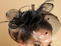 Wholesale Classic AMAZING Bow Veil Feather Hair Clip Mini Top Hat Fascinator For Wedding Party Performing Black Topper