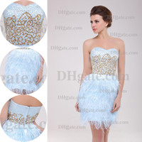 Feather sequence - 2015 New Arrival Light Sky Blue Feathered Sequence Shimmering Beaded Mini Party Prom Dresses BM09