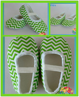 kids fabric cotton - Newborn fabric kids shoes green chevon crip cotton fabric ribbon casual shoes sizes colors pair