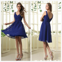 Reference Images Pleats Sleeveless Elegance ruched Royal Blue knee-length A-Line chiffon cocktail party dress bridesmaid dress ct006