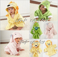 Wholesale New Style Partysu Animal Cartoon Children Bathrobe Bath Towel Best Quality Baby Bath Robe Pink Green Yellow Colour QZ08