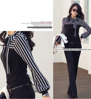 Wholesale New Korea Style Lady Black White Fashion Womens Long Sleeve Tops Blouses