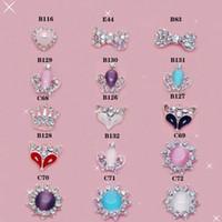 al por mayor mezclar pegatinas 3d-Mezcle el estilo 300+ de las etiquetas engomadas del clavo del estilo de las aleaciones del arte 3D del clavo de la aleación del diamante de la decoración del teléfono celular del diamante del brillo encanta la joyería