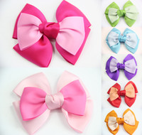 Wholesale 7 GIRLS Kids Baby TODDLE HAIR BOW CLIP Double Color clip ALLIGATOR CLIP Ribbon Hair Accessories Christmas Clips CN032