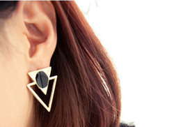 European Style Gold Plated Hollow Out Enamel Double Triangle Earrings Ear Stud For Women 3 Colors U Choose NY