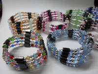 Wholesale 20PCS Asian Hematite Magnetic amp crystal Color Bead jewelry Bracelets