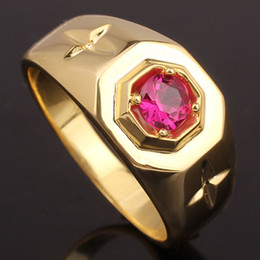 Hot Sale Red Ruby Yellow Gold Finish Men Solid Silver Ring MAN GFS Multi Sizes R524G