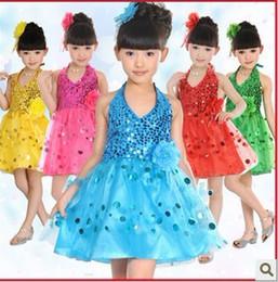 The new children's dance costumes dress girls sequined veil
