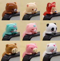 Wholesale 3 mm D Cartoon Bear Pig Designs Earphone Jack Plug Anti Dust Plug For Cell Phone