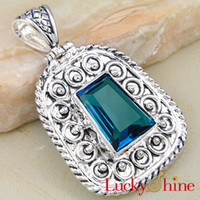 Wholesale Cheap Rhinestone Crystal Jewelry Paris Blue Topaz Necklace Pendant P0627
