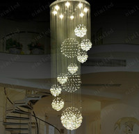 Wholesale nimi115 Dia xH220cm LED Crystal Light Modern Spiral Staircase Lamps Hanging Chandelier Pendant Dorplight Duplex Villa Living Room Lighting