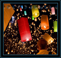 Wholesale Flying Paper Sky Lantern Romantic Design Rectangle Fly Candle Lamp For Christmas Wedding Birthday Party Multi Colors YL