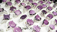 Wholesale G jewelry silver plated amp Amethyst stone rings LR022