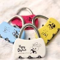 Metal mini padlock - Resettable Digit Combination Mini lock fashion small padlock lock luggage lock colors A0086