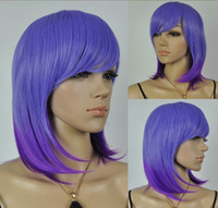 Blue African-American Wigs  Capless High Quality Synthetic Short Straight Purple Costume Party Wig 10pcs lot mix order free shipping