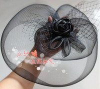 Wholesale AMAZING Black Flower Veil Hair Clip Mini Top Hat Fascinator For Wedding Party Performing Topper