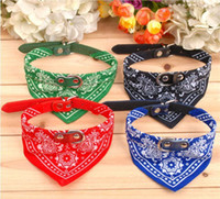 Halloween bandana collars - 7Colors Dog Collars Adjustable Pet Dog Cat Bandana Scarf Collar Neckerchief Brand New Mix Colors CM IN STOCK Y79