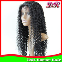Wholesale Indian Remy Hair Lace Front Wigs Jerry Curly Human Hair Glueless Lace wigs quot quot B Hand tied wigs