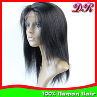 "Indian hair French Lace European Wigs Lace Front Wigs Indian Remy Hair Silky Straight 10""-20"" #1B Human Hair Glueless Lace wigs Hand tied wigs Free Shipping"