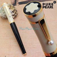 Wholesale MB Copy High Quality Best Design Pearl Clip Black and Golden White Cap Roller Ball Pen