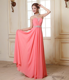 Most Cheapest A Line Strapless Floor Length Watermelon Chiffon Beach Prom Dresses Coral Pink Evening Dresses Beads Crystal Long Prom Gowns
