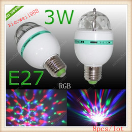 8pcs lot E27 RGB 3W LED Rotating Spot Light Bulb Lamp For Chrismas Party 85-265V AC