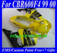 Wholesale Hi grade Fairing kit for HONDA CBR600F4 CBR F4 CBR600 F4 CBR600 yellow black ABS Motocycle Fairings set gifts Hm48