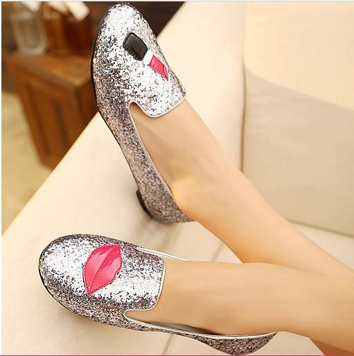 glitter lipstick suede flat heel ballet shoes,women's Single shoes