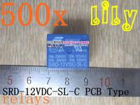 Subminiature   Free shipping 500pcs 12V DC SONGLE Power Relay SRD-12VDC-SL-C PCB Type Genuine Small appliances relay12v relay