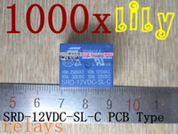 Subminiature   Free shipping 1000pcs 12V DC SONGLE Power Relay SRD-12VDC-SL-C PCB Type Genuine Small appliances relay12v relay