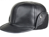 Wholesale Thick warmer winter real sheepskin Leather Newsboy Hats casual HAT CAP