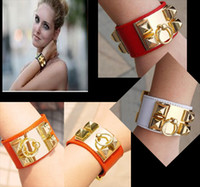 Wholesale COOL Vintage Punk GOLD Stud Pyramid Faux Leather Wristband Bangle Bracelet Cuff With Tracking Number