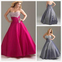 Wholesale A line strapless beaded plus size corset back evening prom dresses gowns elastic satin