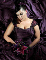 Wholesale Plus size A line Cap sleeve Deep Dark Cadbury Purple Taffeta with pleated beadings wedding dresses Goth W W W W W W W W