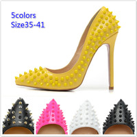 designer shoes - New womens sexy point toe heels brand designer spiked ladies high heels fashion genuine leather dress shoes