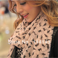 Wholesale Fashion Lady Chiffon Sweet Cat Kitten Graffiti Scarf Shawl Neck Wrap Gift