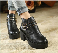 Ankle Boots as picture  Chunky Heel Bran-New Fashion Hot Korea stylenanda punky rivets buckle chunky low heel ankle boots size 35 to 39 free shipping