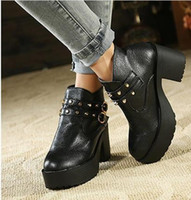 Ankle Boots as  picture  Chunky Heel Hot Sale Autumn Winter Korea stylenanda punky rivets buckle chunky low heel ankle boots size 35 to 39