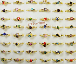Fashion Mix Lots Classic Fashion Rhinestone Gold Plated Rings For Women and Girls Cheap Whole Jewelry lots LR119 Free Shipping