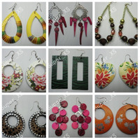 Wholesale jewelry mixed pairs pretty wooden earrings New