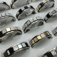 Bijoux en gros anneaux en vrac Lots mixtes Mode Frosted inoxydable Anneaux en acier pour les femmes Hommes Bijoux LR310 Livraison gratuite
