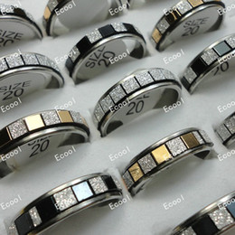 Wholesale Jewelry Bulk Ring Mixed Lots Fashion Frosted Stainless Steel Rings For Women Jewelry Men LR310 Free Shipping