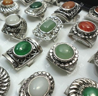 Wholesale G New jewelry Natural stone tibet silver Plated Rings LR074