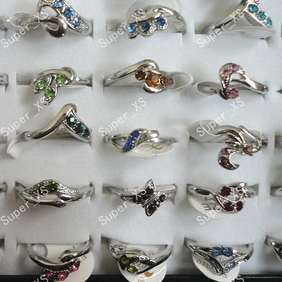 wholesale jewelry bulk multicolor rhinestone silver plated