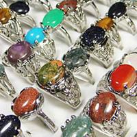 Mode Hot Sale Pierre naturelle Argent Plaqué Bagues pour femmes Bezel Mode Réglage gros Lots Bijoux Ring en vrac LR020 Livraison gratuite