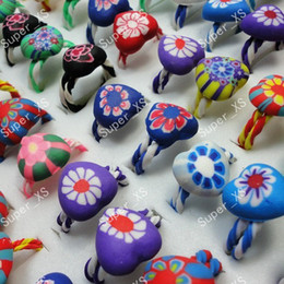 40Pcs Whole Lovely Children Polymer Clay Rings for Boys Girls Jewelry Bulk Lots LR242