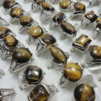 Wholesale Fashion Hot Sale Jewelry Bulk Ring Tiger eye Pretty Silver Plated Women Rings LR276