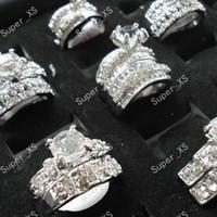 1Réglez 2pcs strass Zircon 2 en 1 Argent Plaqué Anneaux pour les femmes entières Lots Jewelry Ring Bulk LR154 Livraison gratuite